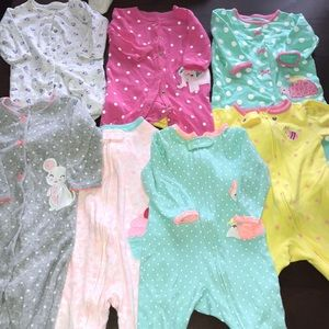 7 bundle of baby girl footies